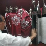 Torah scrolls at the Tifereth Israel synagogue in Mumbai