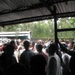 Crowds of JDC clients waiting to be helped at the Gondar clinic. Dr. Rick Hodes estimated that over 1,000 clients came to the clinic today.