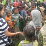 "Morgan teaching girls from the village ""Mary Had a Little Lamb"""